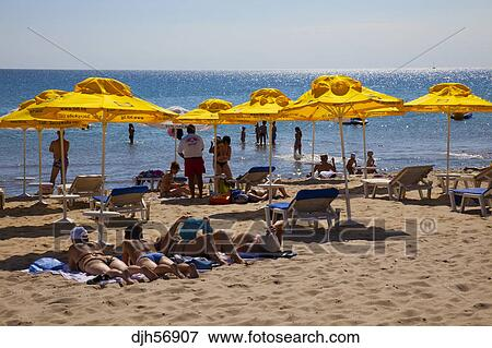 Bulgaria Europe Black Sea Coast South Sunny Beach People Enjoying The Sunshades