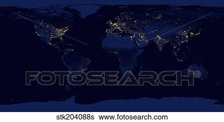 Stock images of flat map of earth showing city lights of the world flat map of earth showing city lights of the world at night gumiabroncs Images