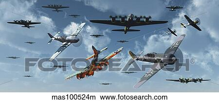 Drawings of B-17 bombers and P-51 Mustangs under attack from ...
