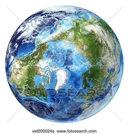 Stock Illustration of 3D rendering of planet Earth, arctic ...