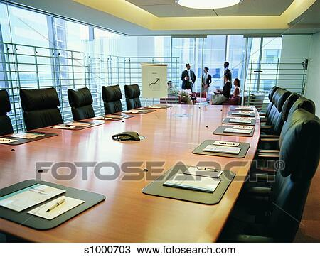 Stock Photo Of Table Chairs Pens And Notepads On A Table In A - Conference room table and chairs clip art