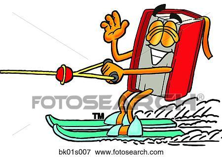 剪贴画 书, 水滑雪术