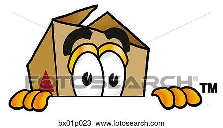 Clipart of Box peeking over top bx01p023 - Search Clip Art ...