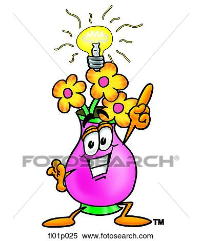 Clipart of Flowers with bright idea fl01p025 - Search Clip ...