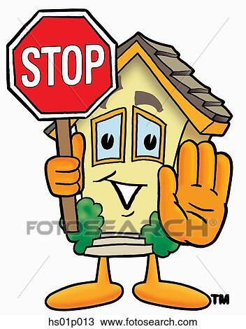 Clipart of House with stop sign hs01p013 - Search Clip Art ...