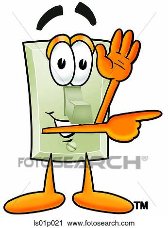 Clipart of Light switch waving and pointing ls01p021 - Search Clip ...