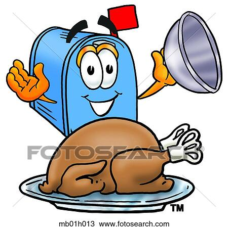 Clipart of Mail box with turkey mb01h013 - Search Clip Art ...