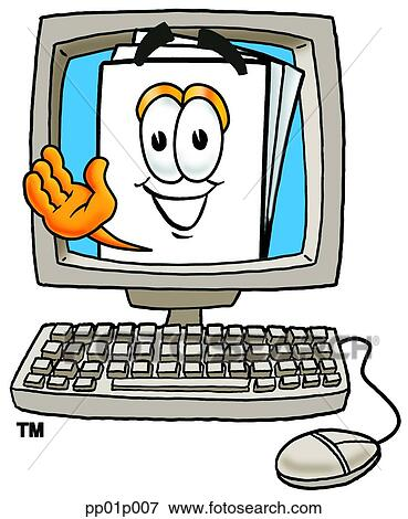 Clip Art of Paper in computer pp01p007 - Search Clipart ...