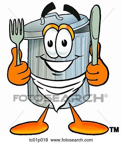 Clipart poubelle manger tc01p018 recherchez des cliparts des illustrations des dessins et - Dessin de poubelle ...