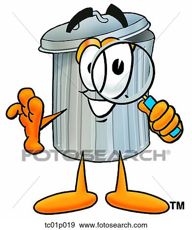 clip art of trash can with magnifying glass tc01p019 search rh fotosearch com trash clip art pictures trash clip art free