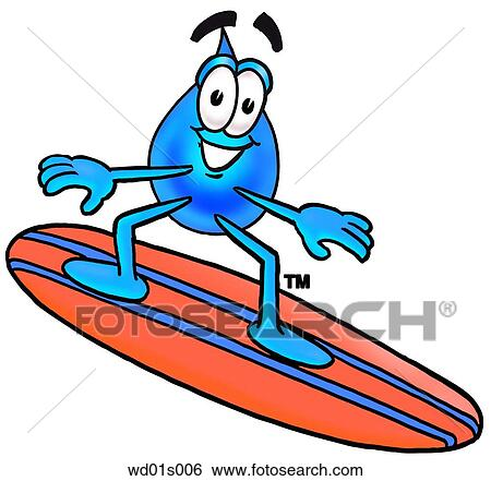 Clip Art of Water drop surfing wd01s006 - Search Clipart ...
