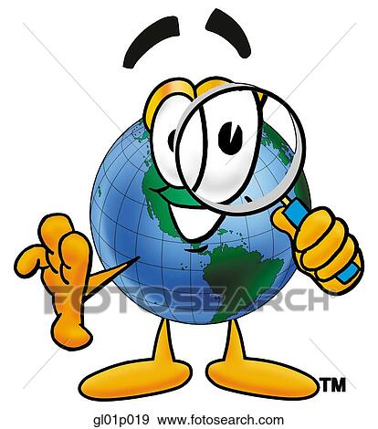 Clip Art of Globe man with magnifying glass gl01p019 ...