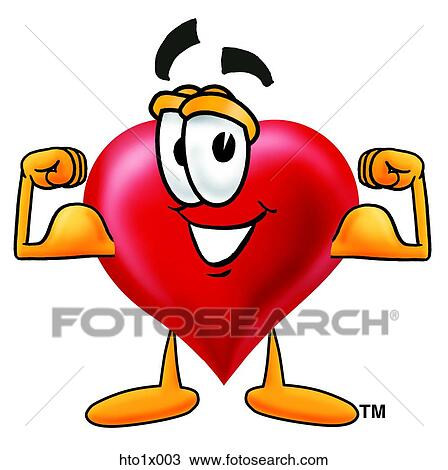 Clipart of heart flexing muscles hto1x003 - Search Clip ...