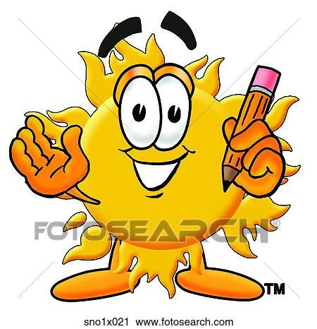 剪贴画 太阳, 带, 铅笔