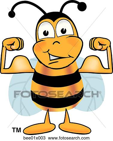 Clipart of bee flexing muscles bee01x003 - Search Clip Art ...