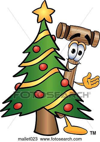 clipart of mallet with christmas tree mallet023 search. Black Bedroom Furniture Sets. Home Design Ideas