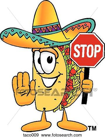 clip art of taco holding stop sign taco009 search clipart rh fotosearch com stop clip art free clipart stop main