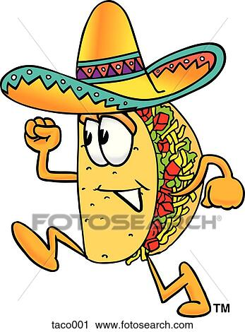 clipart of taco running taco001 search clip art illustration rh fotosearch com taco clip art black and white taco clipart cute
