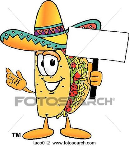Clipart of taco with sign taco012 - Search Clip Art, Illustration ...