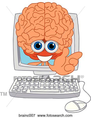 Stock Illustration of Brain In Computer brainc007 - Search EPS ...