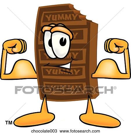 Drawing of Chocolate Flexing Muscles chocolate003 - Search Clipart ...