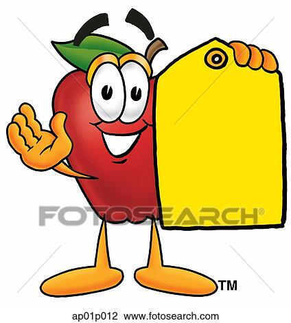 Clip Art of Food Group - Apple With Price Tag ap01p012 - Search ...