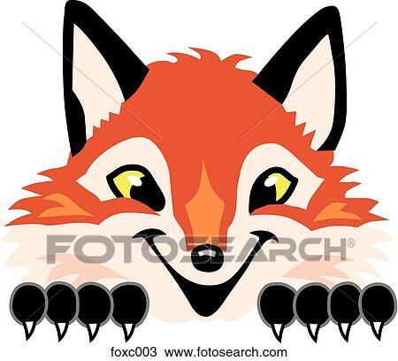 Drawing of Fox Peeking Over Top foxc003 - Search Clipart ...