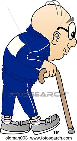 Drawing of Old Man with Cane oldman003 - Search Clipart ...