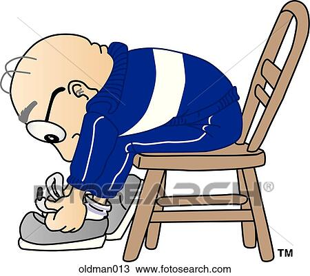 Drawing of Old Man Tying Shoes oldman013 - Search Clipart ...