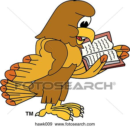 stock illustration of hawk reading book hawk009 search vector rh fotosearch com Hawk Silhouette Clip Art Hawk Vector