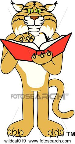 stock illustration of wildcat reading book wildcat019 search rh fotosearch com kentucky wildcat clipart free Wildcats Logo Designs