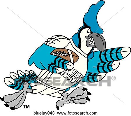 Clip Art of Blue Jay Flexing Muscles with angry face bluejay042 ...