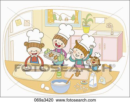 kids kitchen clipart. clipart illustration of kids cooking in kitchen fotosearch search clip art