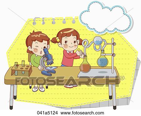 science drawing poster  Drawing - children in science