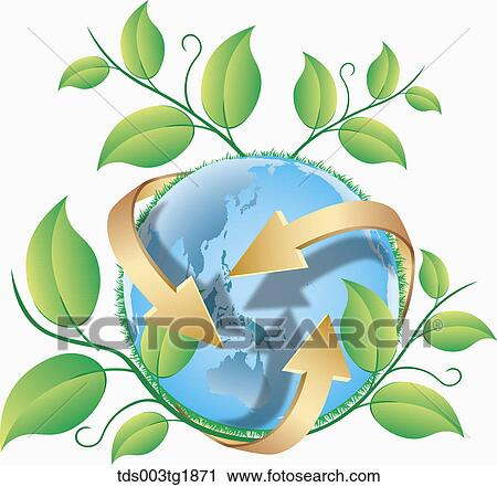 Clipart Of Green Earth Eco Friendly Tds003tg1871