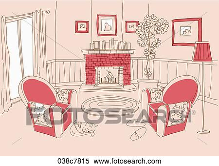 Stock Illustration of drawing illust of living room 038c7815 ...