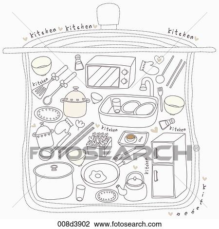 Kitchen Tools Drawings clip art of various kitchen tools in illustration 008d3902
