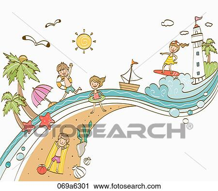 Clipart Of People Enjoying Vacance On The Beach 069a6301