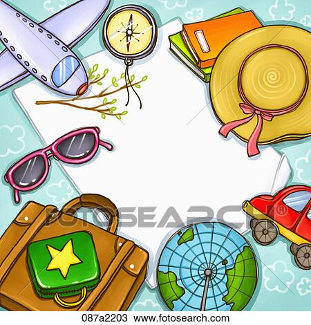 Drawing of goods for journey 087a2203 - Search Clipart ...