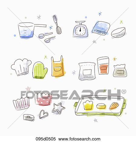 Baking Equipment Drawing Baking Tools