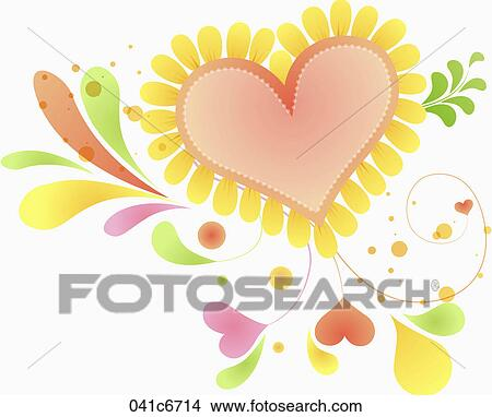 Drawings of Heart sunflowers with leaves 041c6714 - Search ...