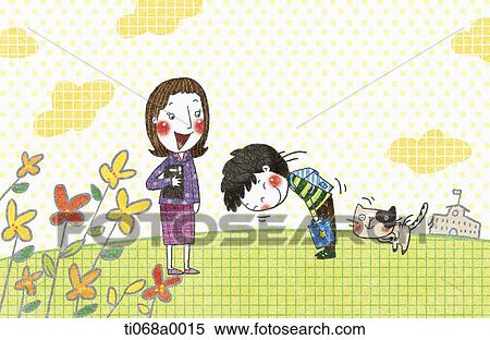 Stock illustration of the boy greeting to the teacher ti068a0015 stock illustration the boy greeting to the teacher fotosearch search clipart drawings m4hsunfo