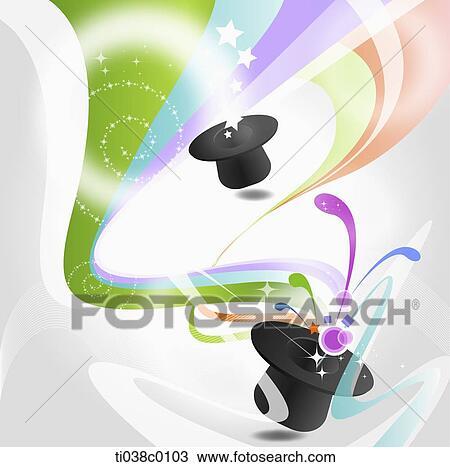 Dessin les color vague et magicien chapeau ti038c0103 recherchez des cliparts des - Dessin de chapeau de magicien ...