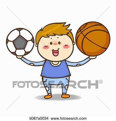 手绘图 - a, 男孩, 带, 足球, 同时,, 篮子球.图片