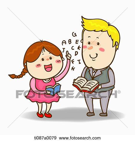 Colección de ilustraciones - un, niña, oratoria, el ...