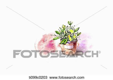dessin plante verte pot ti099c0203 recherchez des cliparts des illustrations et des images. Black Bedroom Furniture Sets. Home Design Ideas