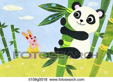 熊猫吃竹子卡通