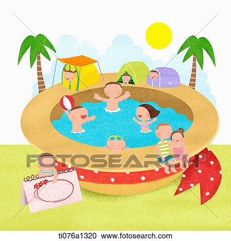A Illustration Of People Swimming In Beach Hat