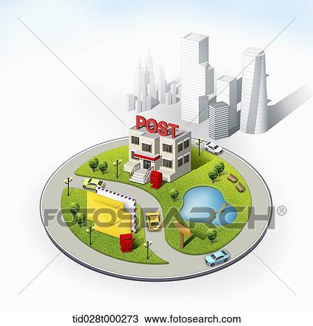 Disegno Mockup Di Ufficio Postale Citt Tid028t000273