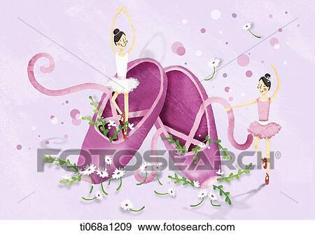 stock illustration zwei m dchen tanzen ballett ti068a1209 suche clipart zeichnungen. Black Bedroom Furniture Sets. Home Design Ideas